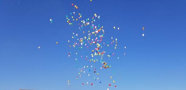 今年度閉校する学校で風船とばしを行いました。