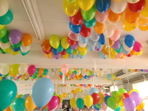 5/22(土)の運動会に1100個の風船を1100個3回に分けて飛ばしました。